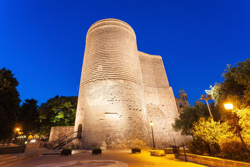 Maiden Tower in Baku. The Maiden Tower at night. It is also known as Giz Galasi and located in the Old City in Baku, Azerbaijan stock photo