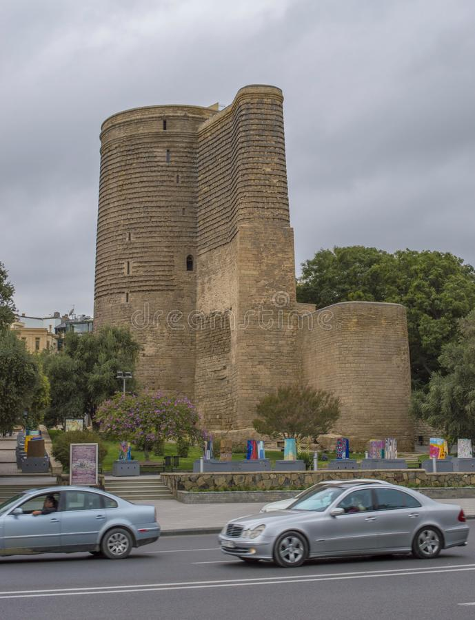 Maiden tower in Baku. Old Maiden tower in Baku - Azerbaijan royalty free stock image