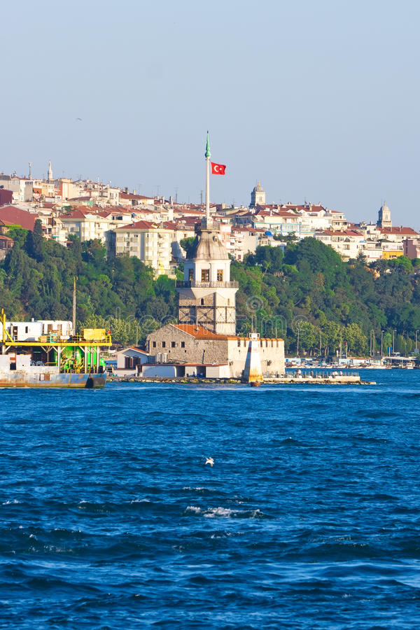 Maiden Tower. Beautiful view of Maiden Tower in Istanbul, Turkey royalty free stock images