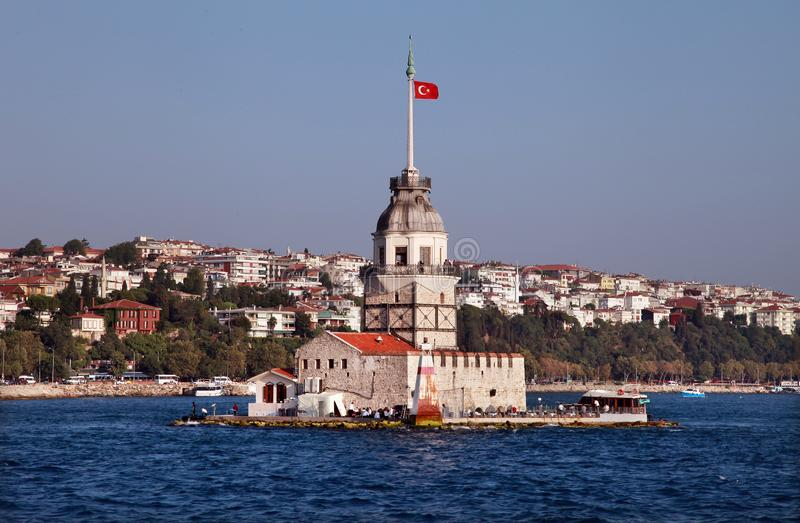 Maiden Tower and Bosphorus. In Istanbul, Turkey royalty free stock photo