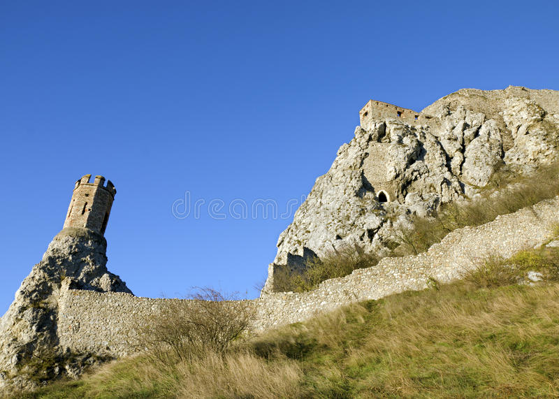 The Maiden Tower and east wall of Devin castle royalty free stock photography