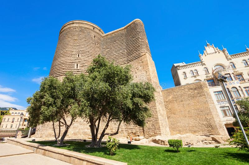 Maiden Tower in Baku. The Maiden Tower or Giz Galasi in the Old City in Baku, Azerbaijan. Maiden Tower was built in the 12-th century, as part of the walled city royalty free stock image