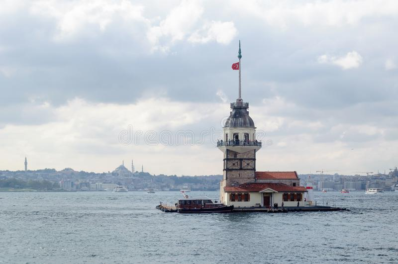 Maiden tower on an island in the Bosphorus Strait, Istanbul stock photography