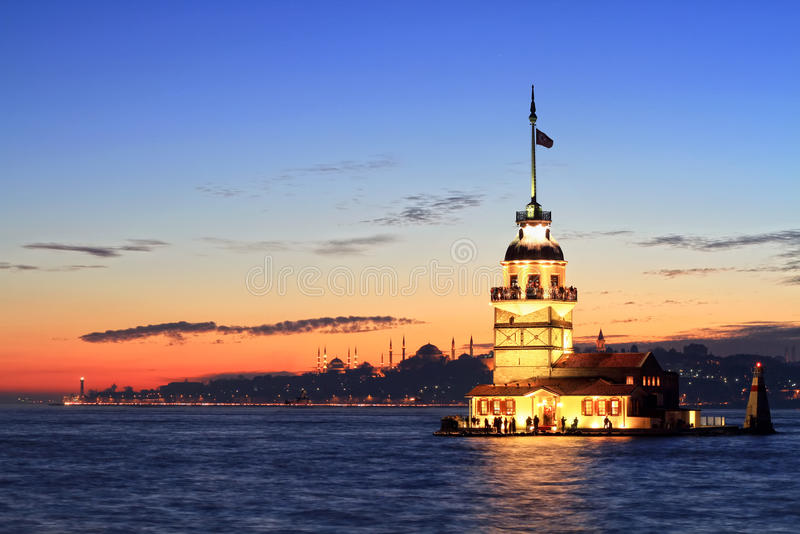 Maiden Tower, Istanbul. Istanbul Maiden Tower from the east in sunset. In the distance are such landmarks as Blue Mosque, Hagia Sophia and Topkapi Palace royalty free stock photo
