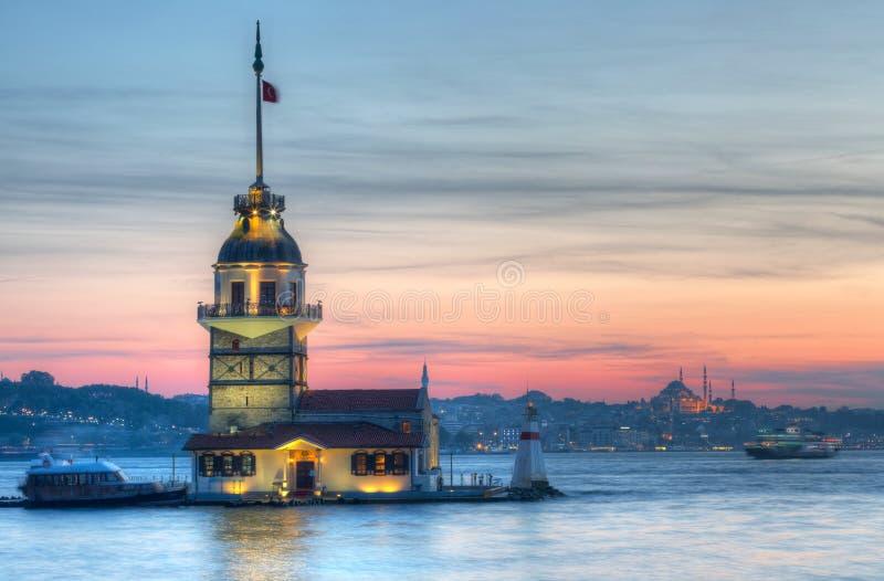 Maiden tower in Istanbul on a sunset. Turkey stock photos