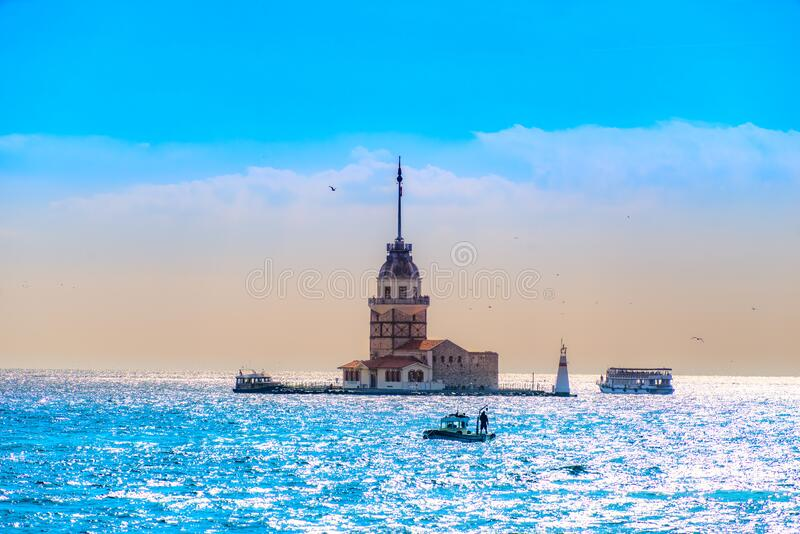 The Maiden Tower, Istanbul, Turkey royalty free stock photography