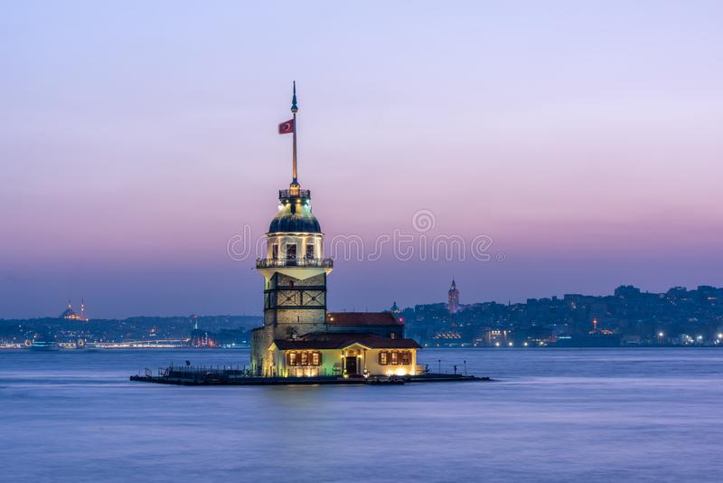 Maiden Tower kiz kulesi in the evening, Istanbul, Turkey royalty free stock images