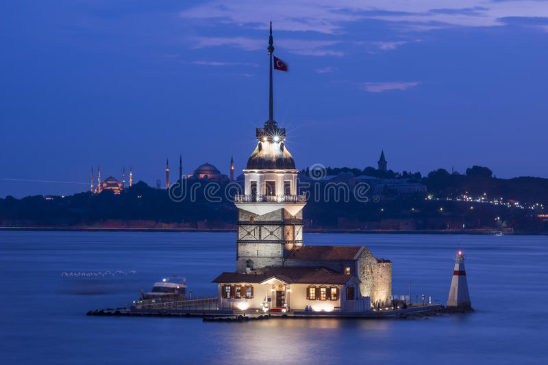 Maiden Tower or Kiz Kulesi Istanbul stock photo