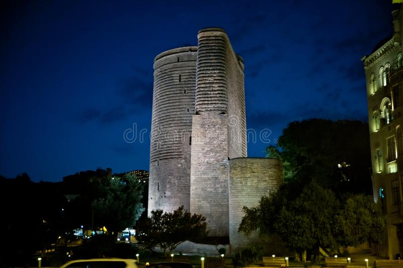 Maiden Tower at night in the Baku Old City. Azerbaijan's most distinctive national emblems.The Maiden Tower at night royalty free stock images