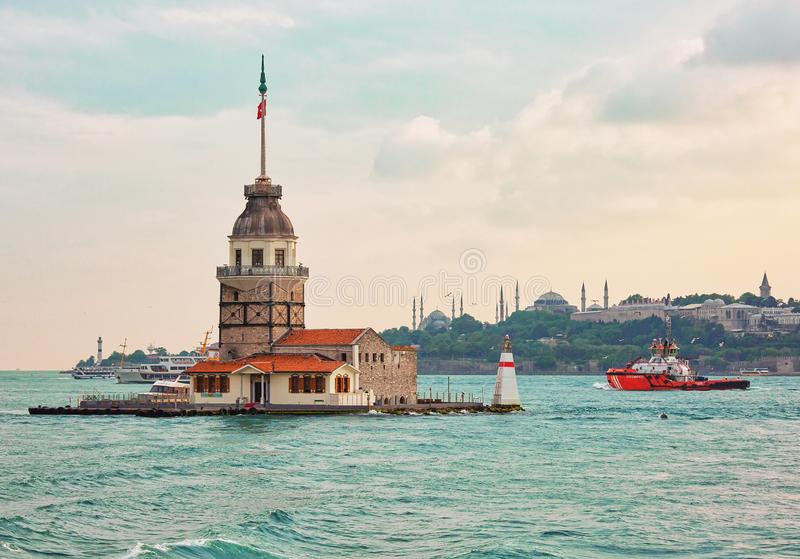 Maiden tower, popular tourist attraction in Istanbul, Turkey stock images