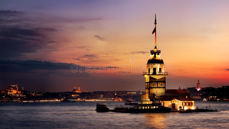 Maiden Tower at sunset. Maiden Tower in Bosforus illuminated at sunset, Istanbul royalty free stock image