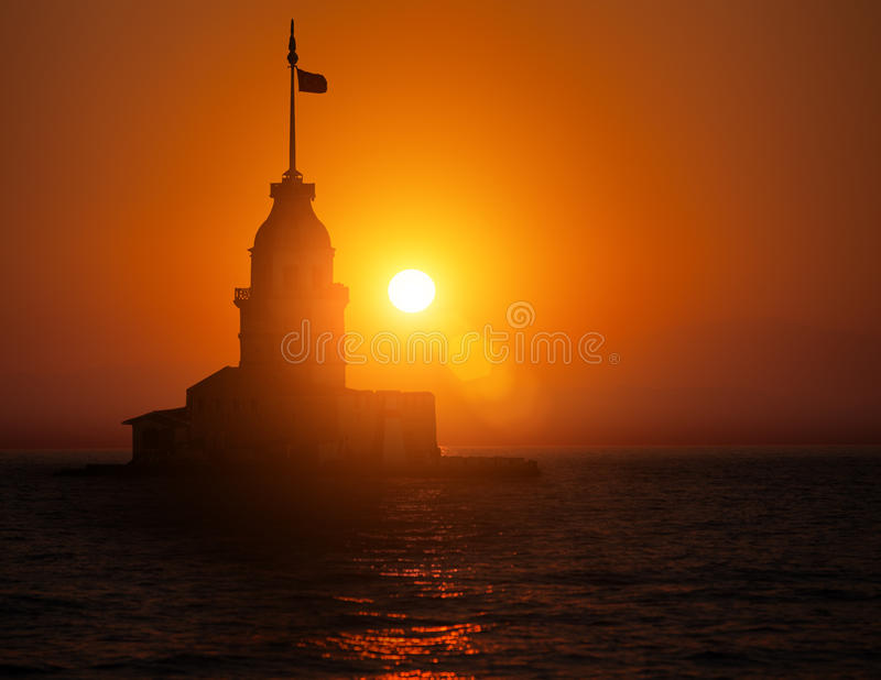 Maiden Tower during sunset stock photography