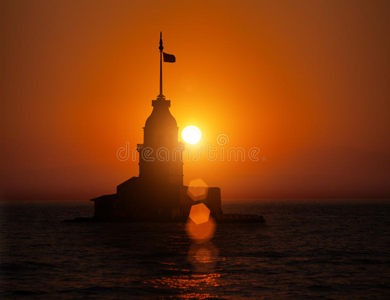 Maiden Tower during sunset stock photo