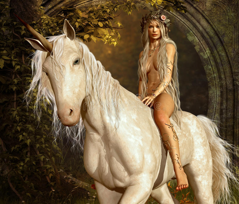 Maiden and Unicorn stock images