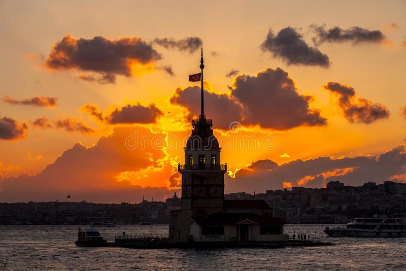 Maidens tower at sunset royalty free stock photos