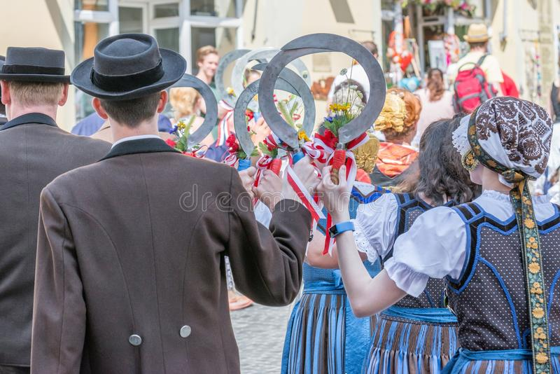 Regensburg, Germany, Mai 10, 2018, Maidult procession in Regensburg, Germany royalty free stock images