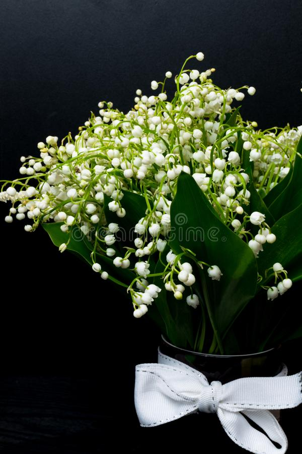 Maiglöckchenblumen im Vase, schwarzer Hintergrund, selektiver Fokus stockfoto