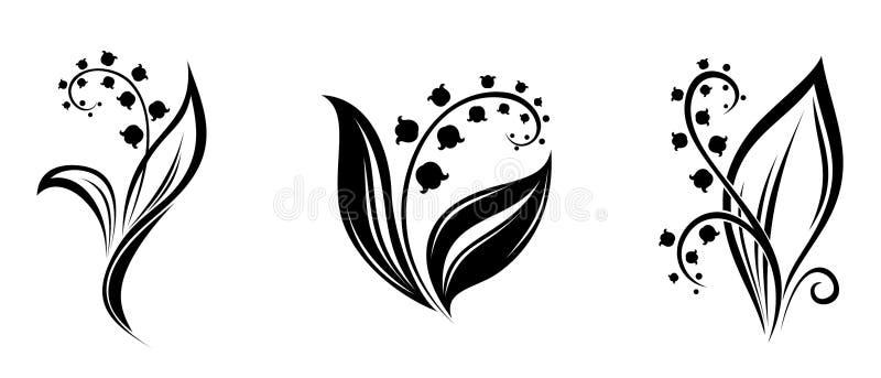 Maiglöckchenblumen. Schwarze Schattenbilder. lizenzfreie abbildung