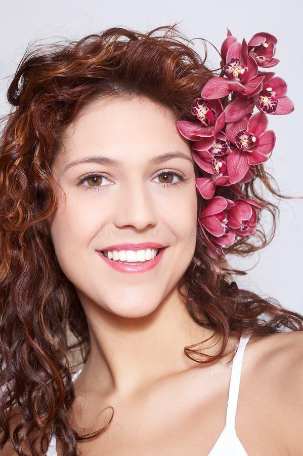 Maike com orquídea fotos de stock royalty free