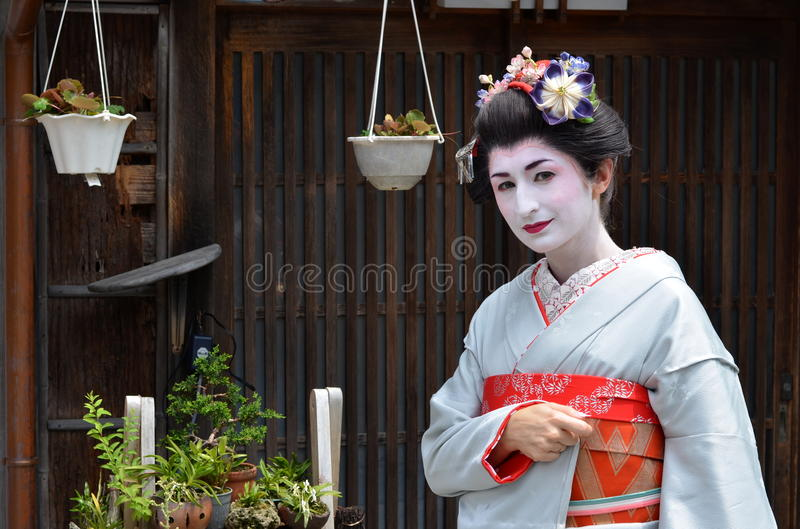 Maiko的画象,关闭,京都,日本 免版税库存照片