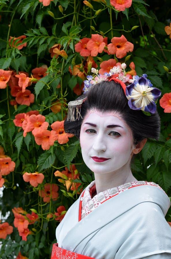 Maiko的画象,关闭,京都,日本 免版税库存图片