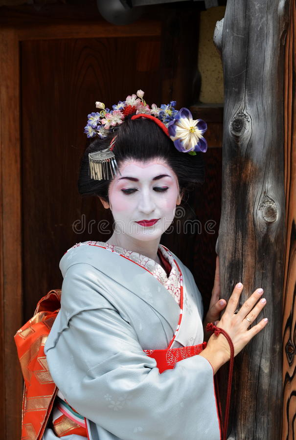 Maiko的画象,关闭,京都,日本 免版税图库摄影