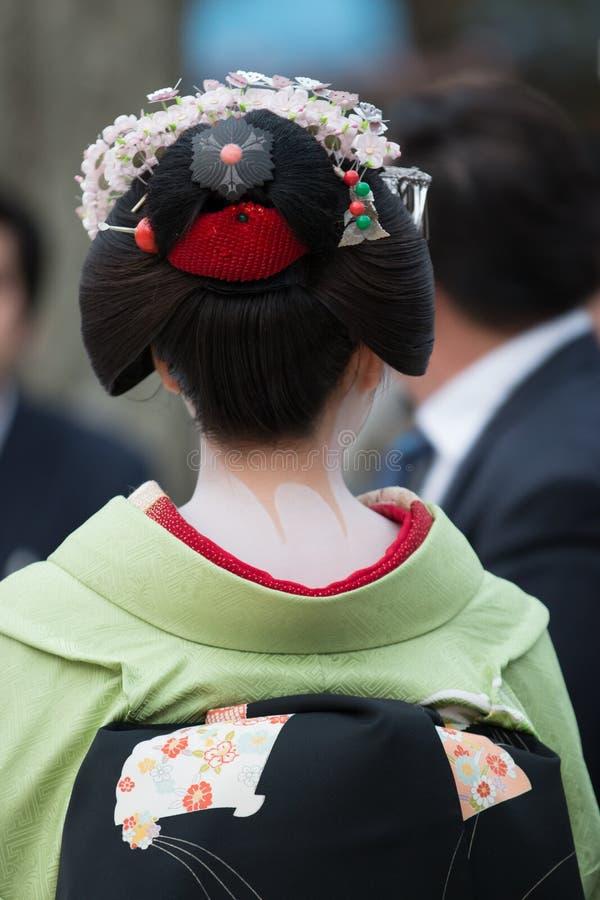 Maiko艺妓在Gion京都,日本 免版税图库摄影