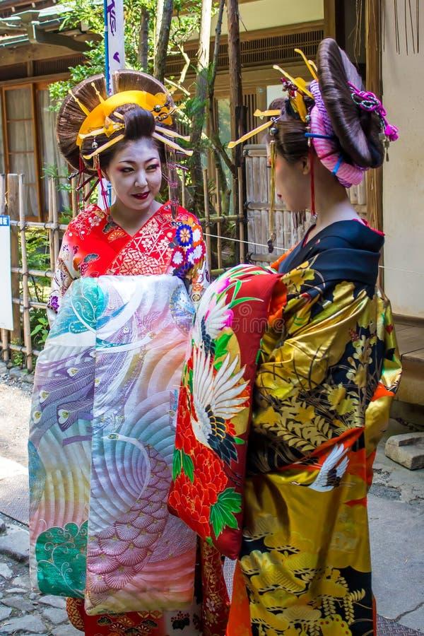 Maiko, geisha degli apprendisti, dentro immagine stock