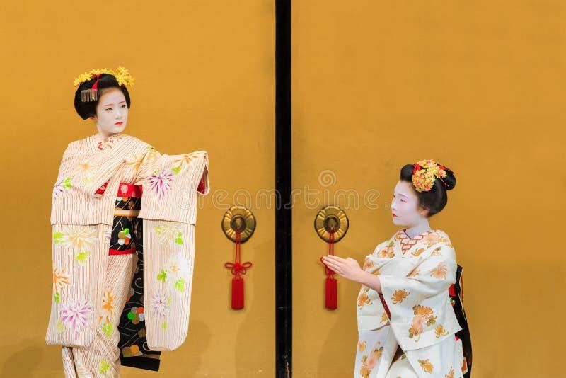 Maiko in Kyoto stock foto's