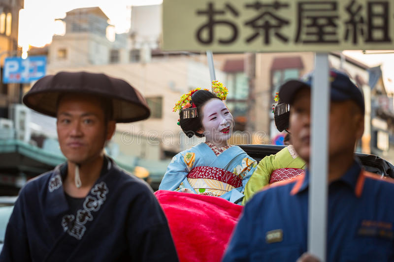 Download Maiko Women, Apprentice Geisha On The Street Parade In Kyoto Editorial Photography - Image: 93602587