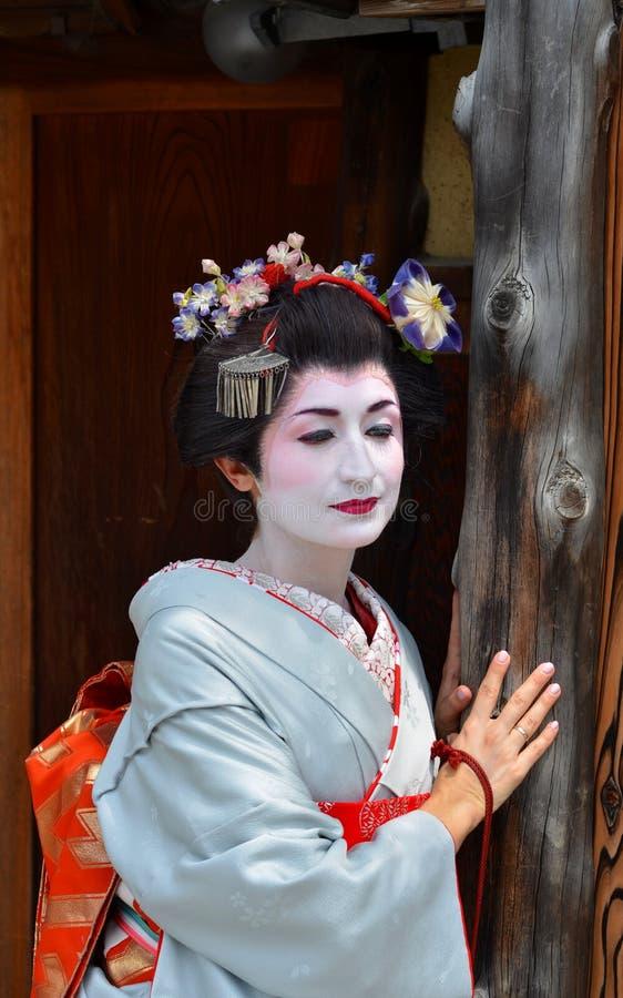 Maikos Porträt, Abschluss oben, Kyoto, Japan stockbild