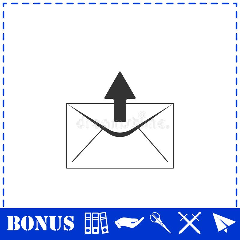 Mail arrow icon flat. Simple vector symbol and bonus icon stock illustration