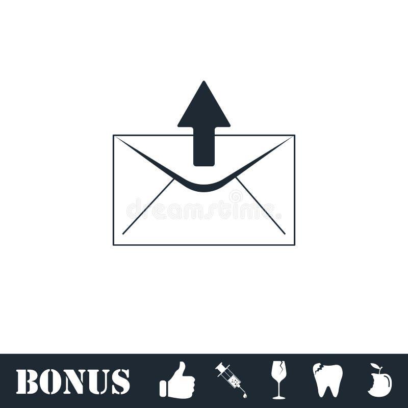 Mail arrow icon flat. Vector illustration symbol and bonus pictogram royalty free illustration