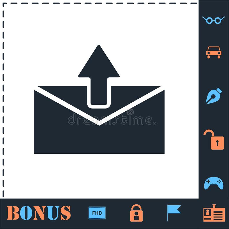 Mail arrow icon flat royalty free illustration