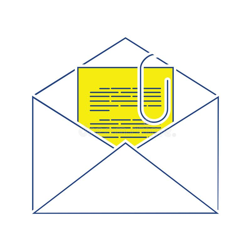 Mail with attachment icon. Thin line design. Vector illustration royalty free illustration