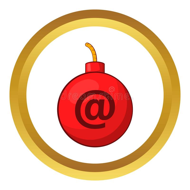 Mail bomb icon. In golden circle, cartoon style isolated on white background vector illustration