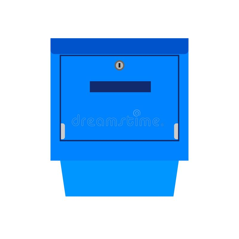 Mail box blue symbol communication shipping post vector icon. Deliver cargo receive postal element letterbox royalty free illustration