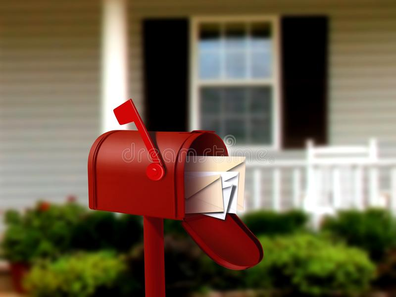 Mail Box In front of a House stock illustration