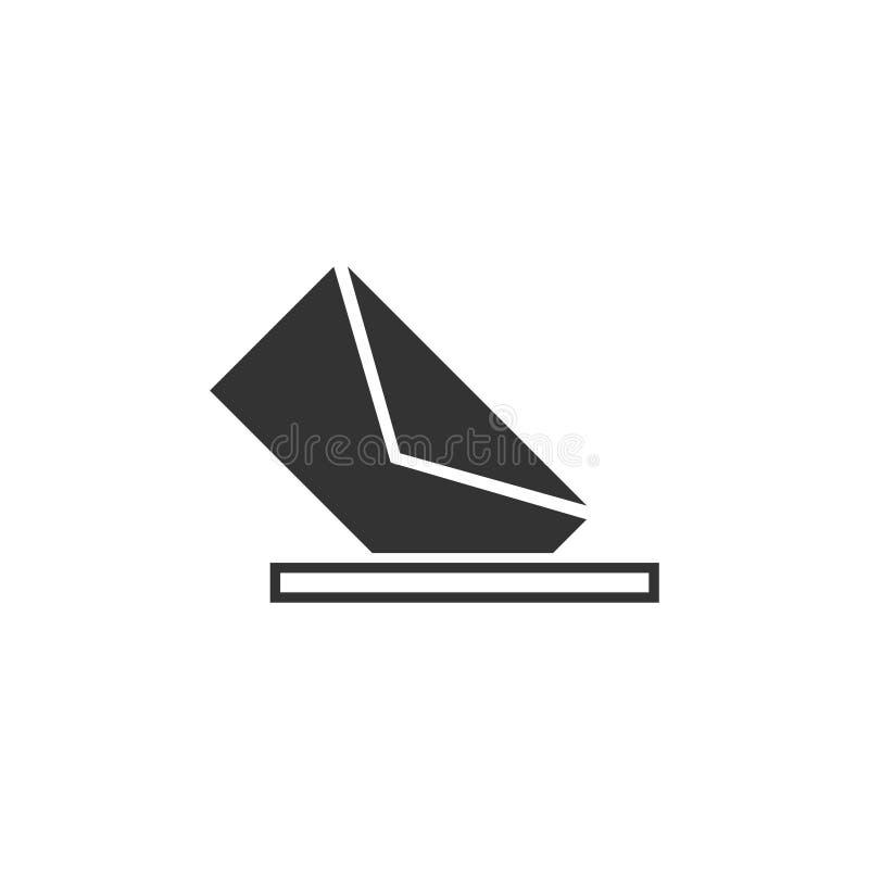 Mail box icon flat. Mail box. Black Icon Flat on white background stock illustration
