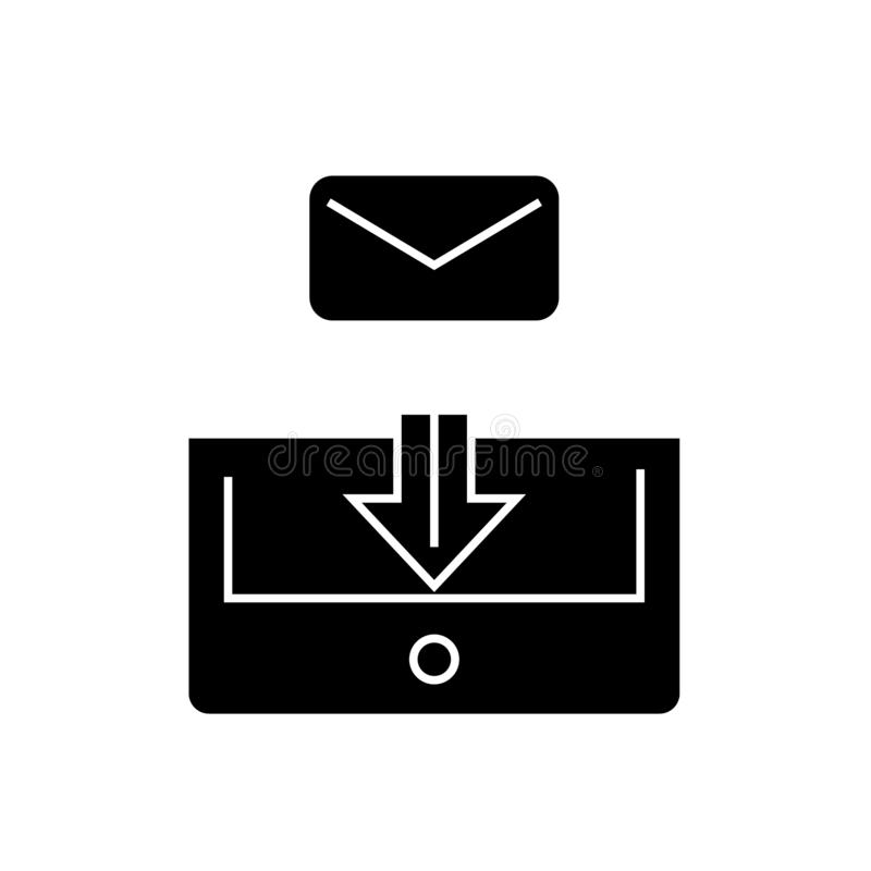 Mail box post black vector concept icon. Mail box post flat illustration, sign. Symbol stock illustration
