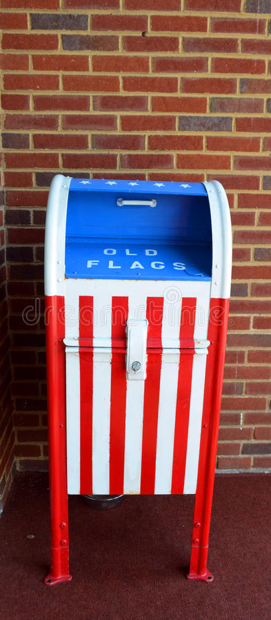 American Flag Depository. Mail Box used to deposit old American Flags for disposal royalty free stock photography