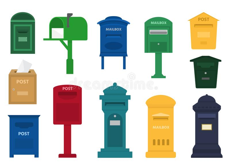 Mail box vector post mailbox or postal letterbox of American or European mailing and set of postboxes for delivery royalty free illustration