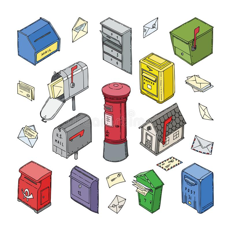 Mail box vector post mailbox or postal mailing letterbox with envelops illustration set of isometric postboxes for. Delivery mailed letters isolated on white vector illustration