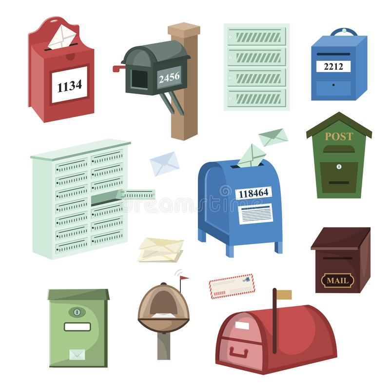 Mail box vector post mailbox or postal mailing letterbox illustration set of postboxes for delivery mailed letters. Isolated on white background vector illustration