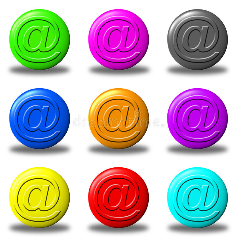 Mail button set round stock photo