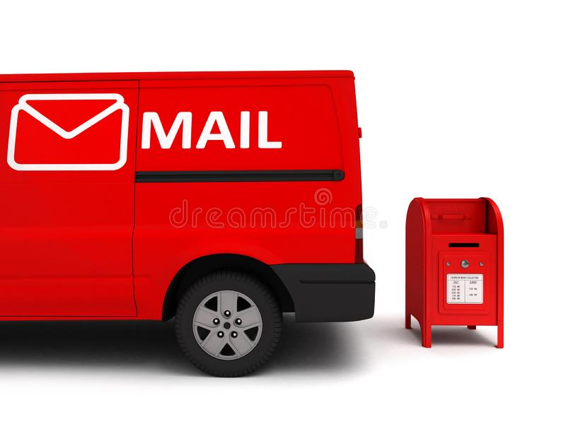 Mail car with a mailbox isolated on white.3D illustration royalty free illustration