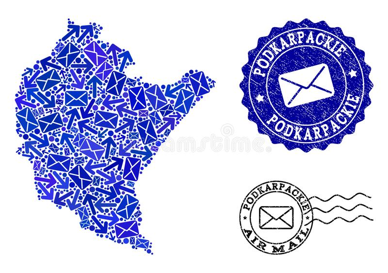Mail Communication Composition of Mosaic Map of Podkarpackie Province and Scratched Seals. Post combination of blue mosaic map of Podkarpackie Province and stock illustration