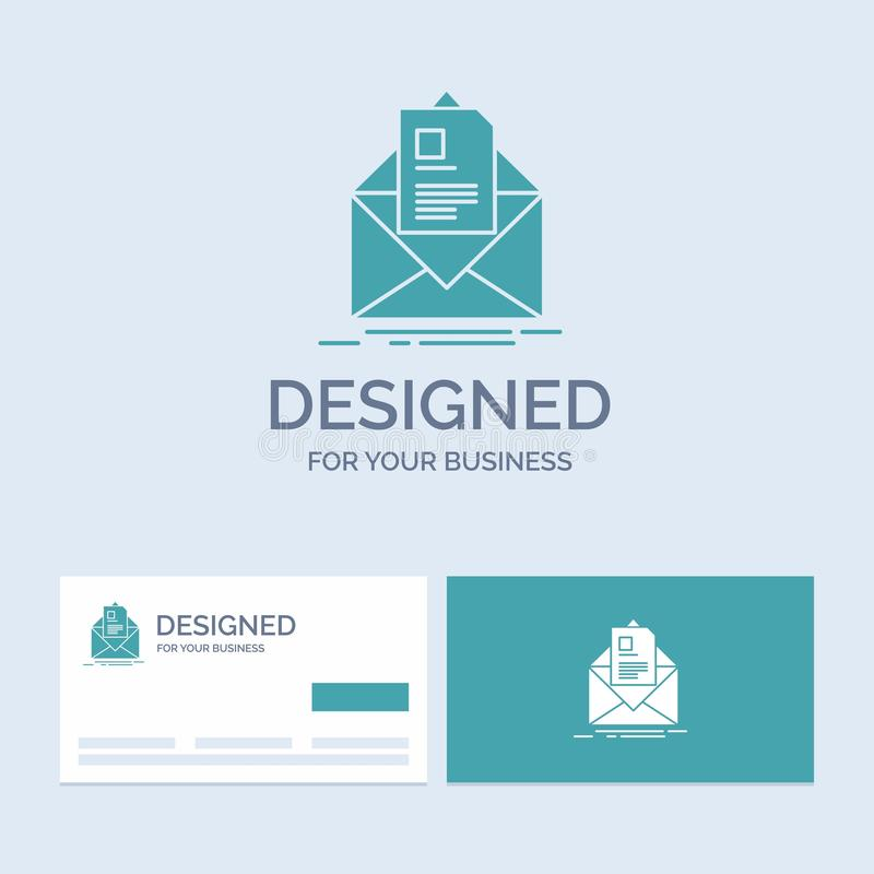 mail, contract, letter, email, briefing Business Logo Glyph Icon Symbol for your business. Turquoise Business Cards with Brand royalty free illustration