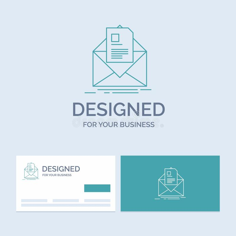 Mail, contract, letter, email, briefing Business Logo Line Icon Symbol for your business. Turquoise Business Cards with Brand logo. Template. Vector EPS10 stock illustration