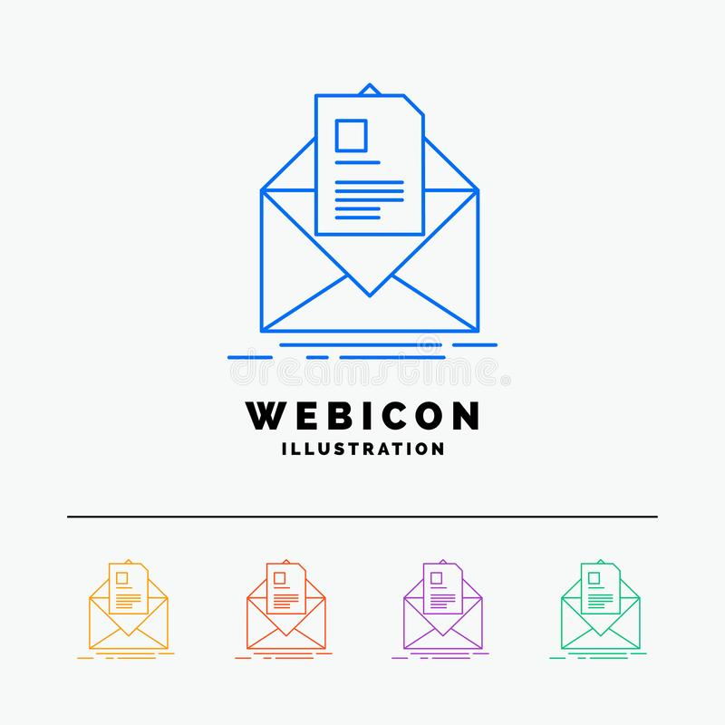 mail, contract, letter, email, briefing 5 Color Line Web Icon Template isolated on white. Vector illustration stock illustration